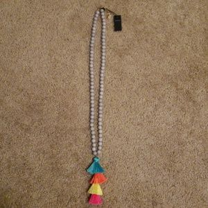 Baublebar beaded marbled necklace with fringe